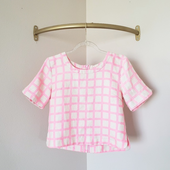 J.O.A. Tops - JOA Los Angeles Neon Pink Grid Cut Out Crop Top S